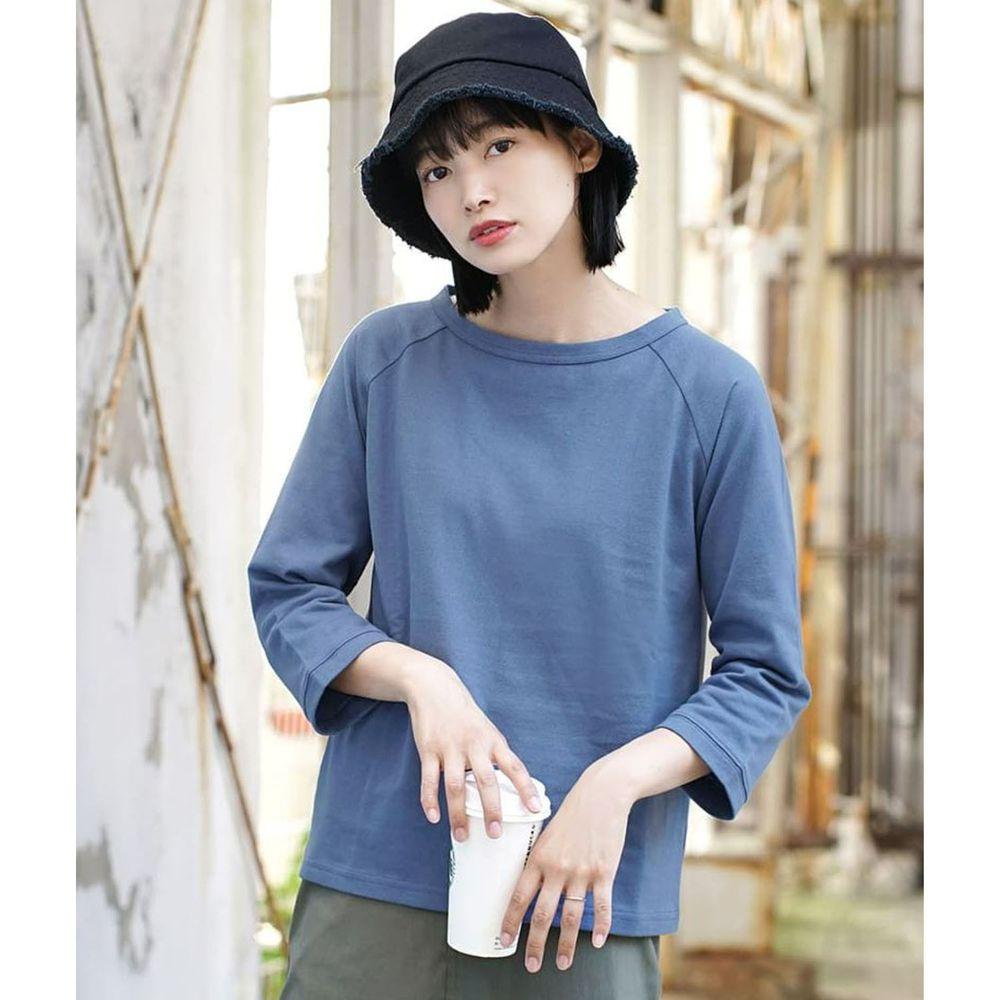 日本 zootie - [撥水/撥油加工] 抗油污耐洗純棉七分袖上衣-藍