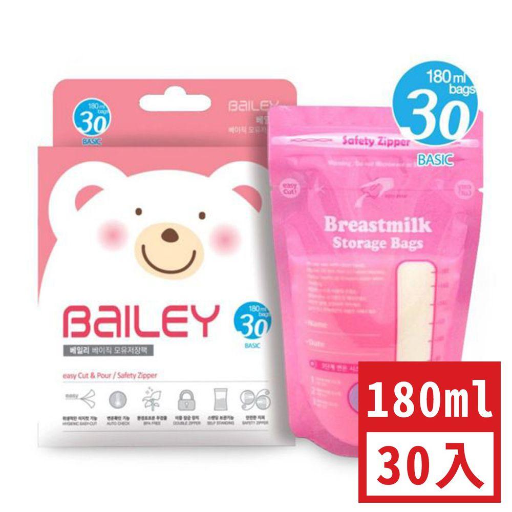 韓國 BAILEY 貝睿 - 感溫母乳儲存袋-基本型 (180ml)-30入 (效期至2022年12月)