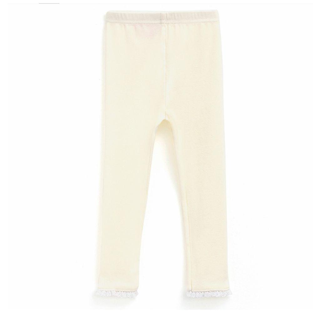 韓國 OZKIZ - 鏤空蕾絲下襬內搭褲-象牙白