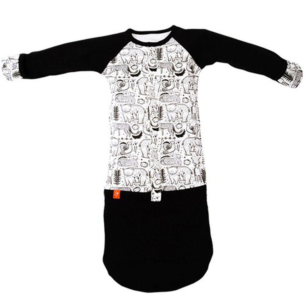美國 GOUMIKIDS - 有機棉嬰兒睡袍-*聯名黑白款* 叢林大冒險 (0-6m)