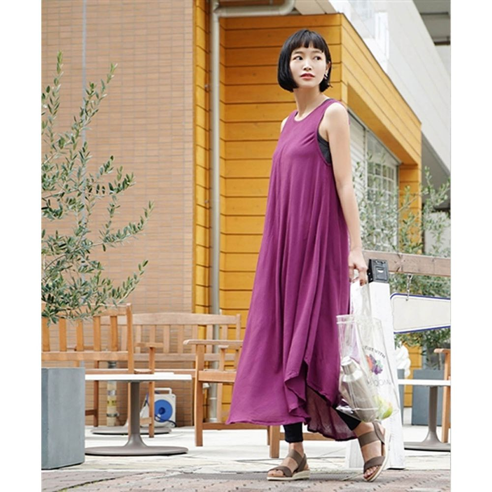 日本 zootie - 涼感不規則U型裙擺背心洋裝-活力紫 (Free)