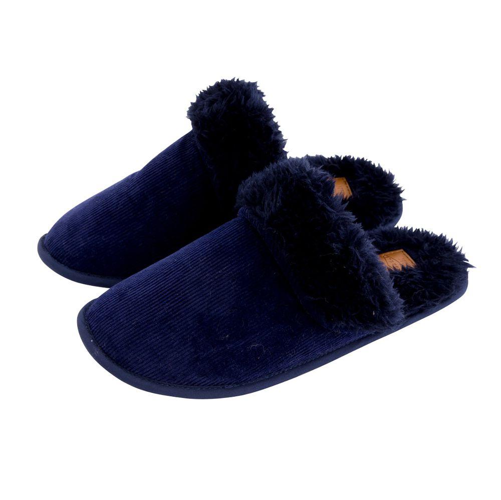 日本 BISQUE - 低反發2way保暖室內拖-毛絨-深藍 (L(25-27cm))