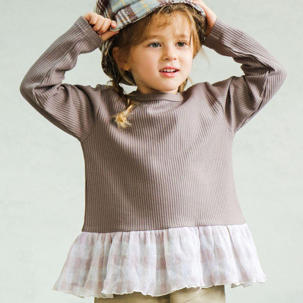 日本 PAIRMANON - 下擺荷葉拼接鬆餅紋長袖上衣-條紋-摩卡