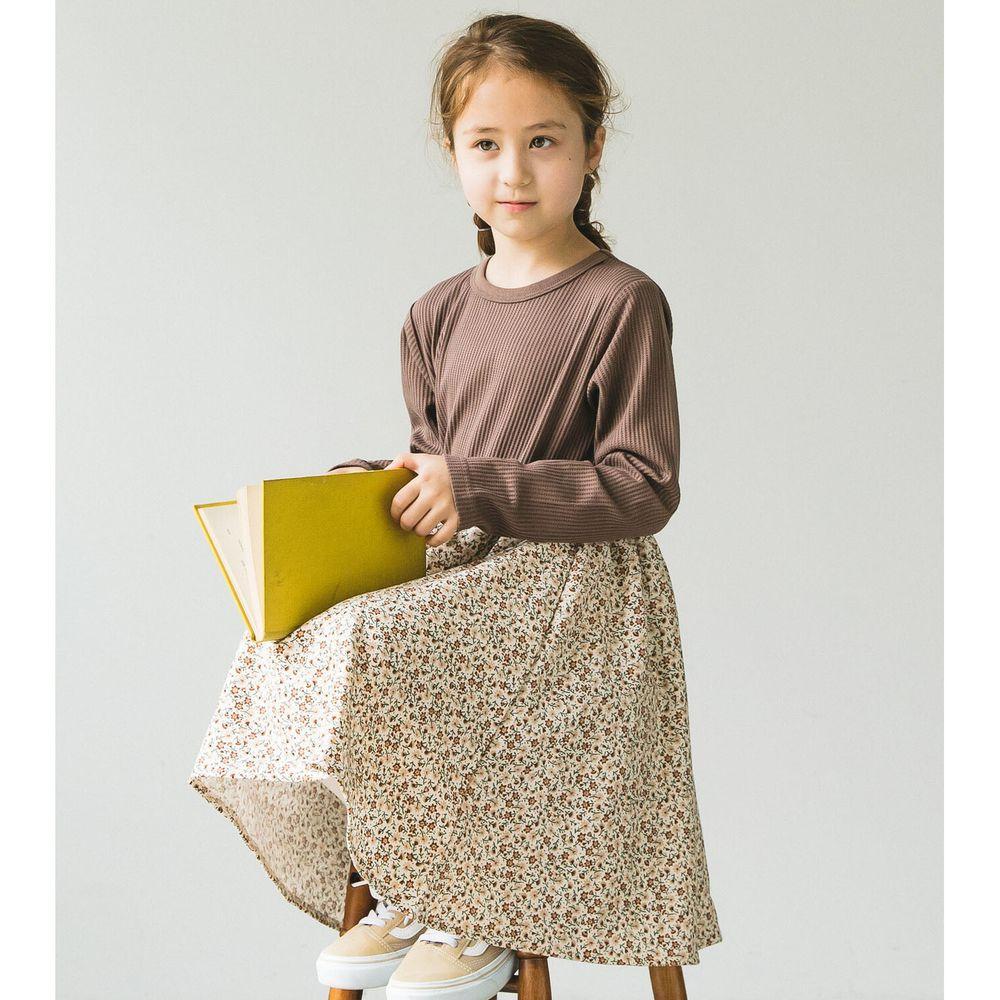 日本 PAIRMANON - 上下拼接鬆餅紋長袖洋裝-碎花-咖啡X杏