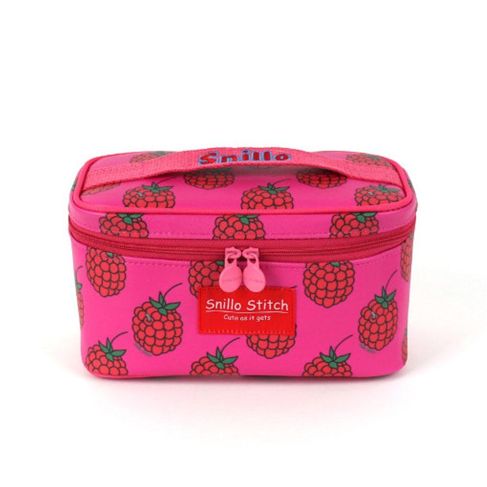 韓國 Snillo Stitch - 大容量立體化妝包-梅菓-桃粉 (21X12X11cm)