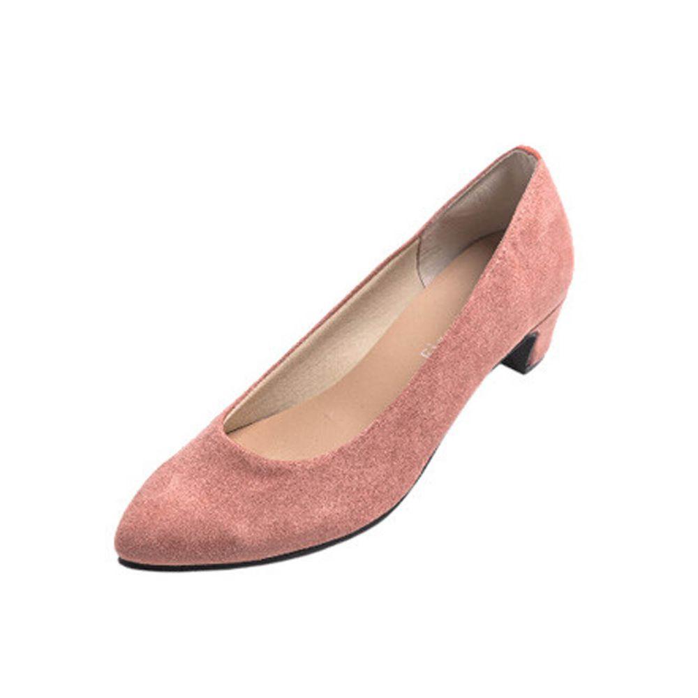 日本女裝代購 - 日本製 柔軟尖頭5.5cm高跟鞋-麂皮-玫瑰粉