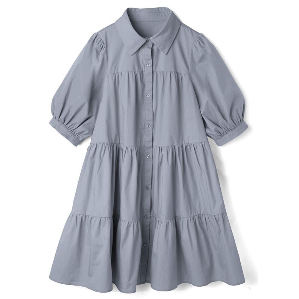 日本 GRL - 明星聯名款 蛋糕澎澎五分袖襯衫洋裝-星塵藍