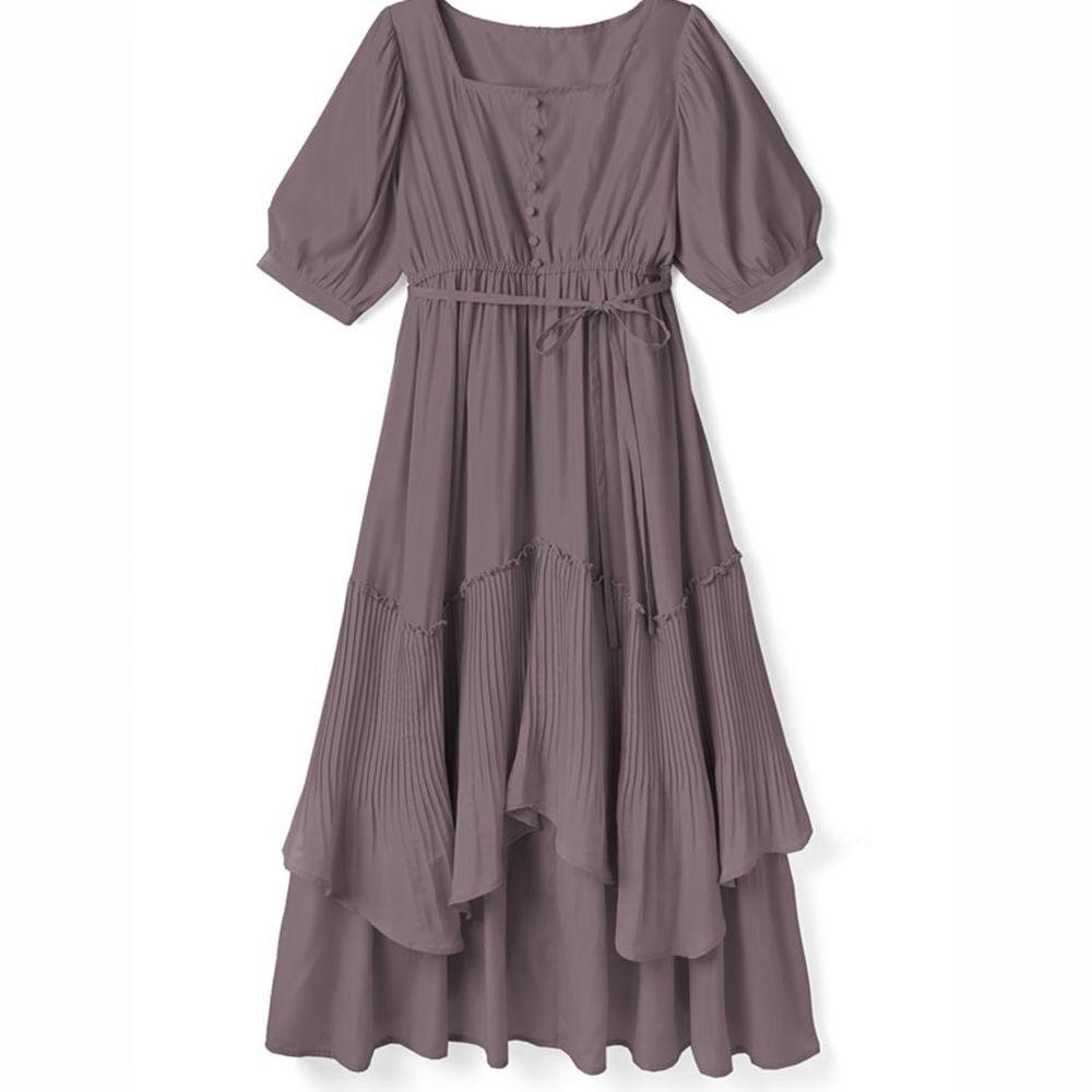 日本 GRL - 明星聯名款 層次感不規則剪裁短袖洋裝-薰衣草