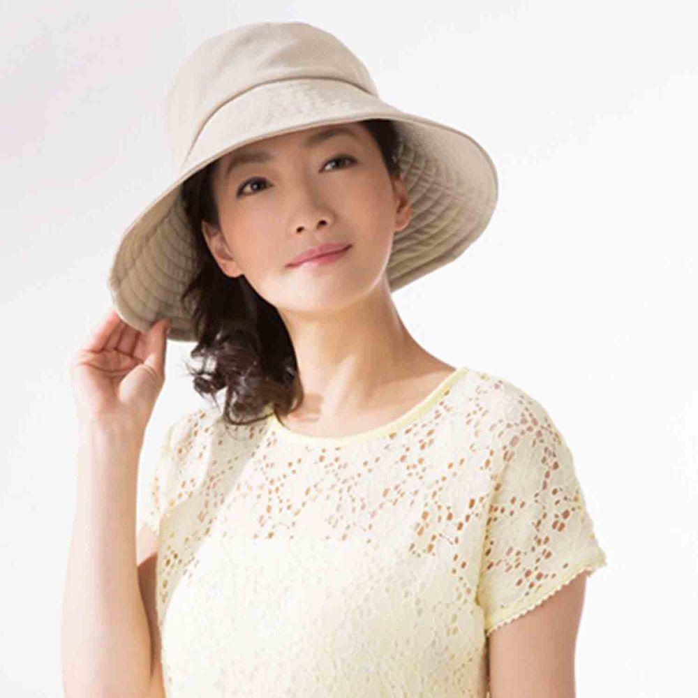 日本 SUN FAMILY - 體感-4.1度可折疊兩面抗UV遮陽帽-米 (頭圍57.5cm內)