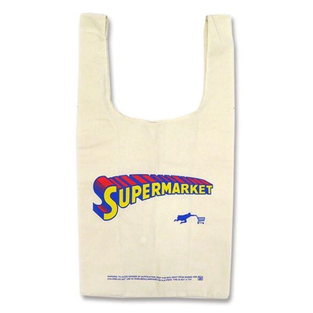 日本 OKUTANI - 折疊購物袋(純棉)-超人逛超市 (32x60x16cm)