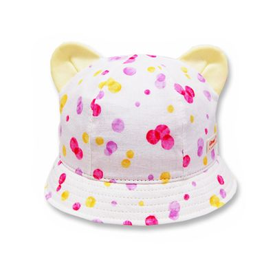 日本製粉嫩點點幼童帽(附彈性帽帶)-小耳朵-粉