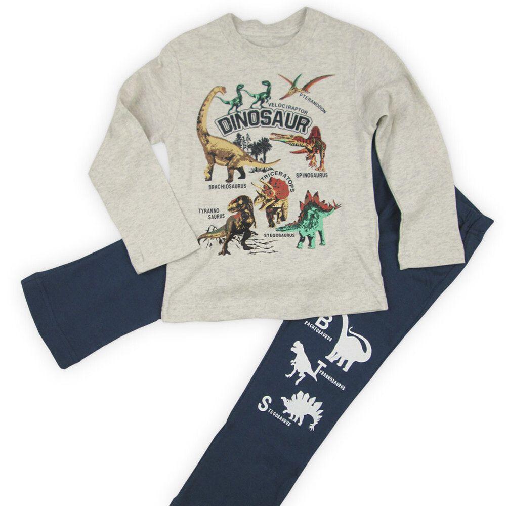 日本服飾代購 - 純棉印花長袖家居服-恐龍帝國-燕麥X丈青