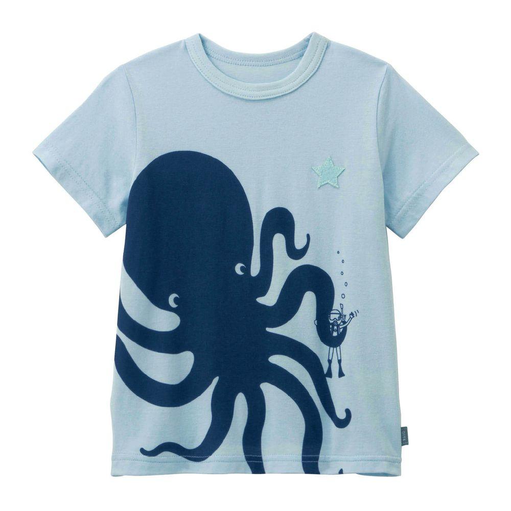 日本千趣會 - GITA 天竺棉印花短T-章魚與潛水客-水藍