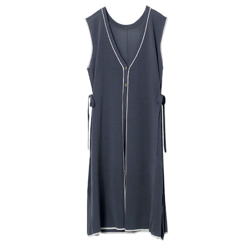 日本 Rejoule - 2way撞色線條針織無袖長版雙釦外套/罩衫-灰 (M(Free size))