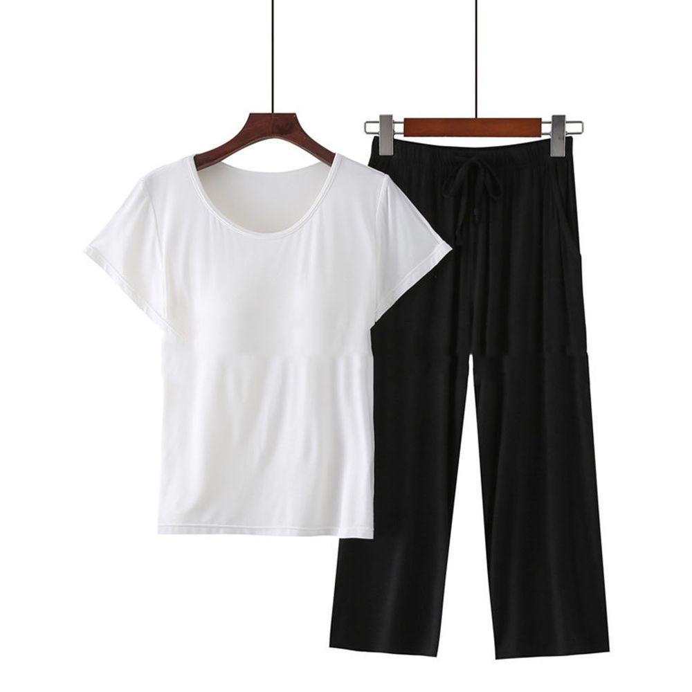 莫代爾柔軟涼感Bra T家居服-七分褲套裝-白色