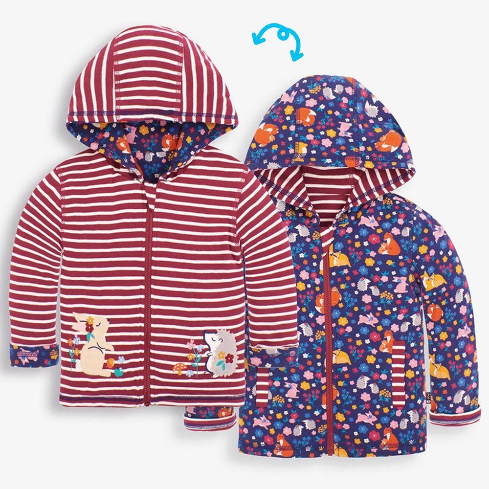 英國 JoJo Maman BeBe - 雙面穿100%純棉保暖連帽外套-動物花園