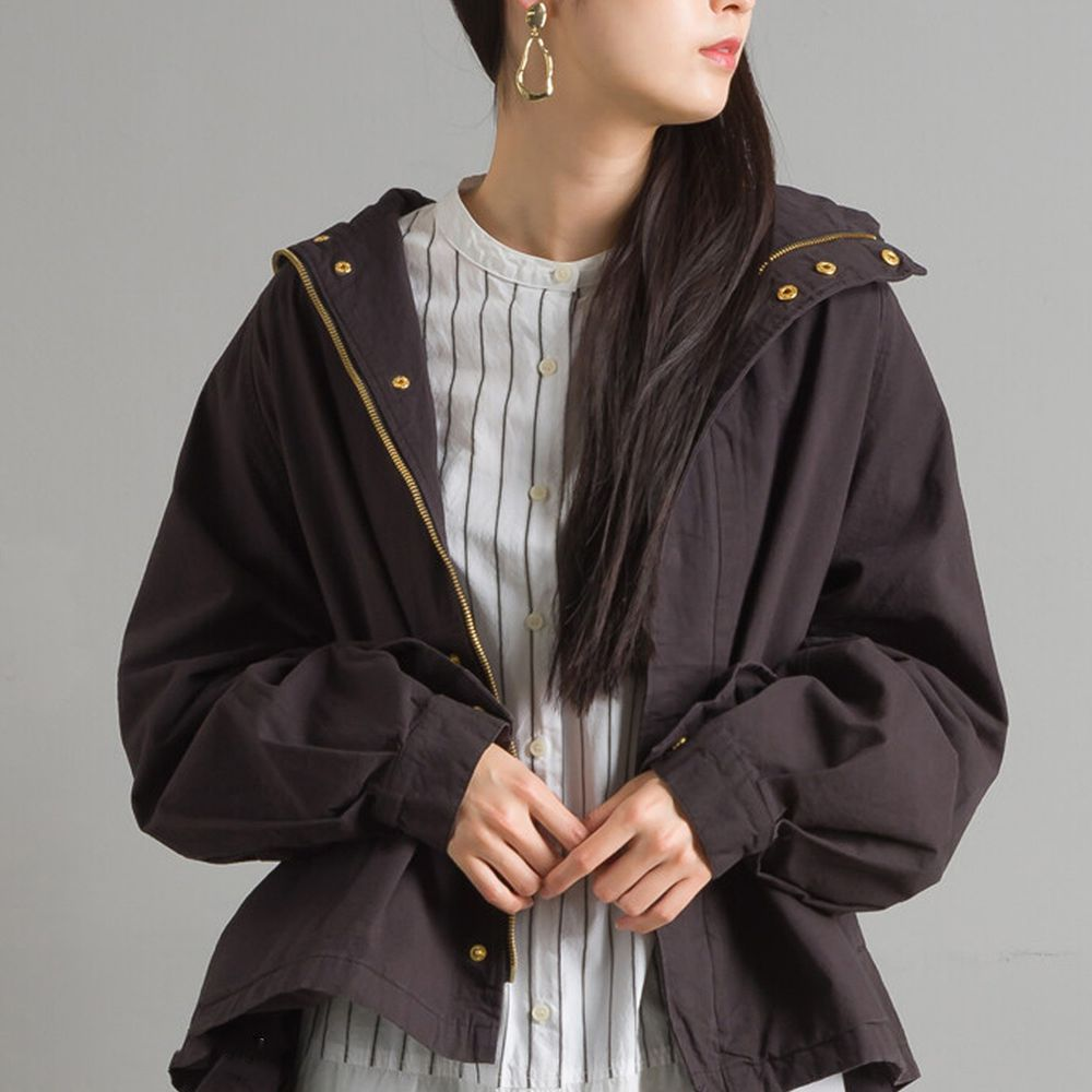 日本女裝代購 - 復古洗舊純棉連帽風衣外套-純黑