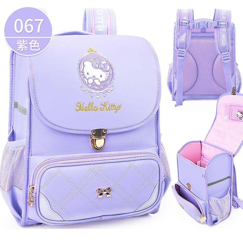 翻蓋式減壓書包-卡通人物Kitty-紫色 (建議身高110-140cm)