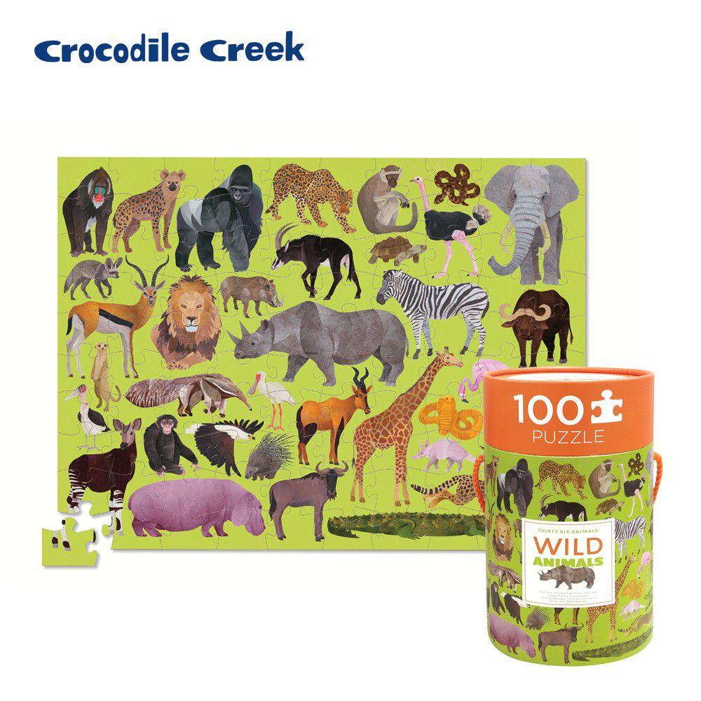 Crocodile Creek - 生物主題學習桶裝拼圖-野生動物 (100片)-5歲以上