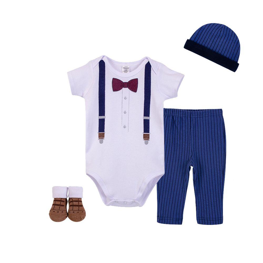 美國 Luvable Friends - 嬰幼兒生日/滿月4件禮盒組-紳士品格 (0-6M)
