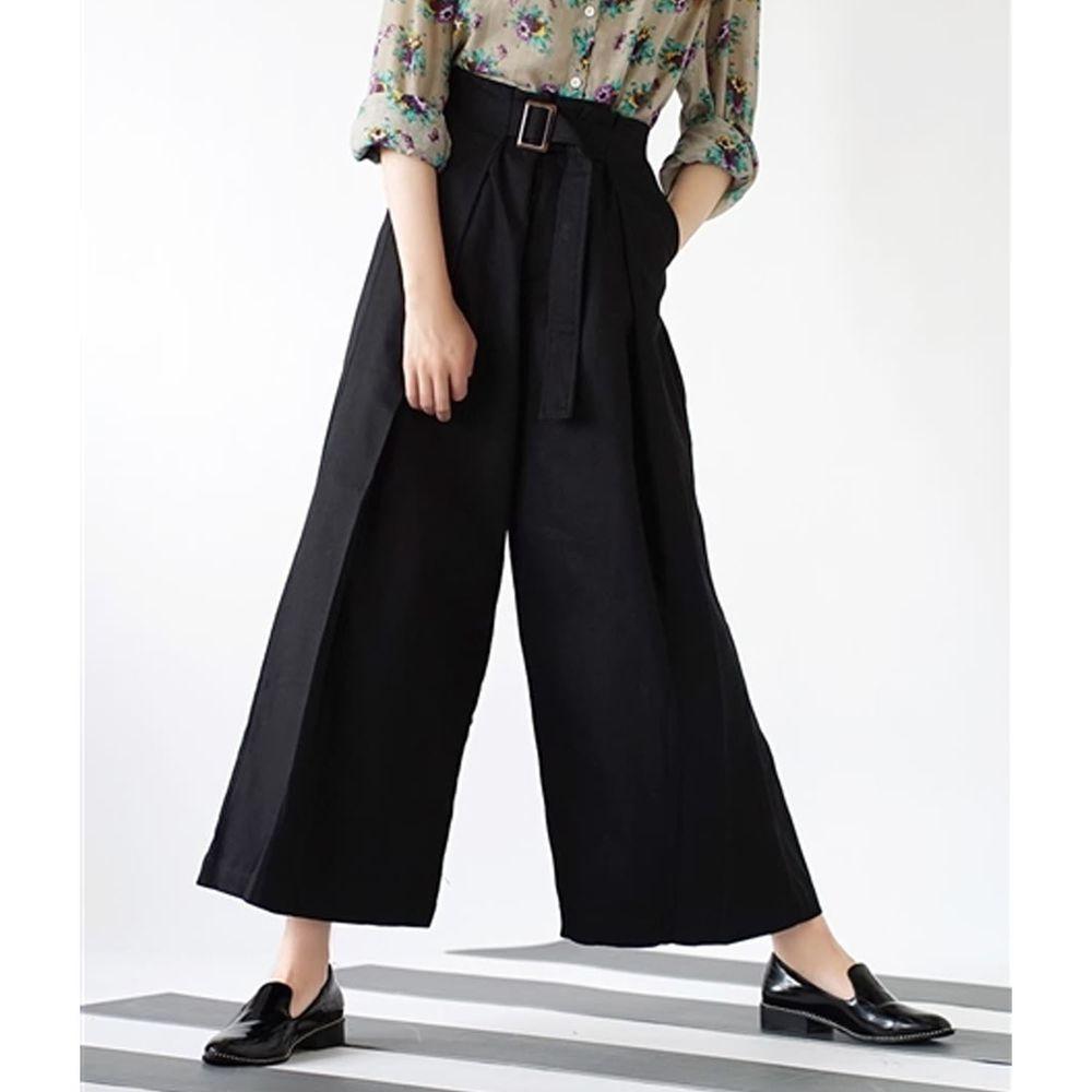 日本 zootie - 純棉率性設計感打褶腰帶寬褲-黑