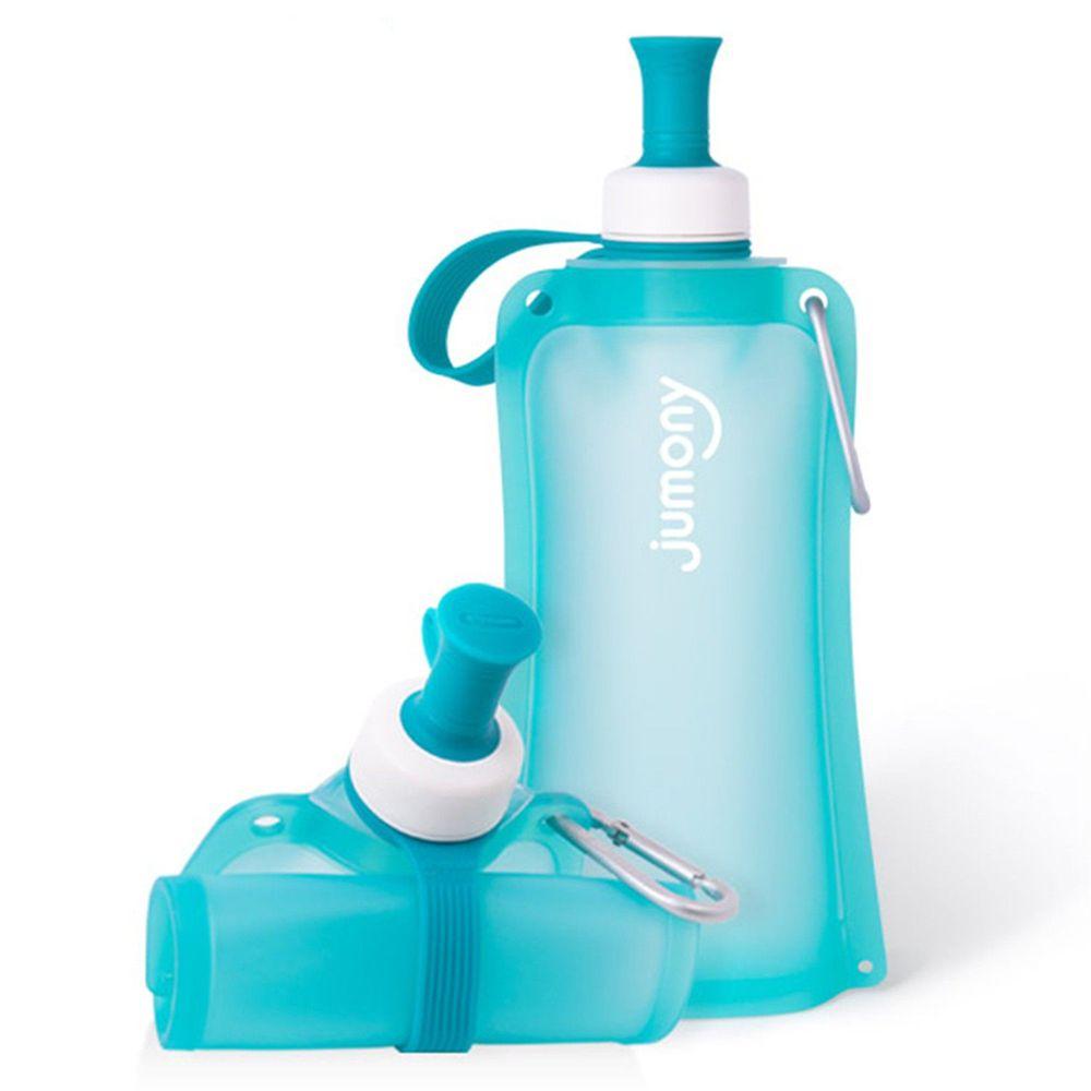 韓國 sillymann - 100%鉑金矽膠簡約便攜捲式水瓶-薄荷藍-550ml