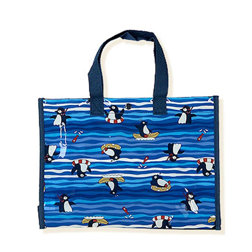 日本 ZOOLAND - 防水PVC手提袋/游泳包-E悠遊企鵝-深藍 (25x34x11cm)