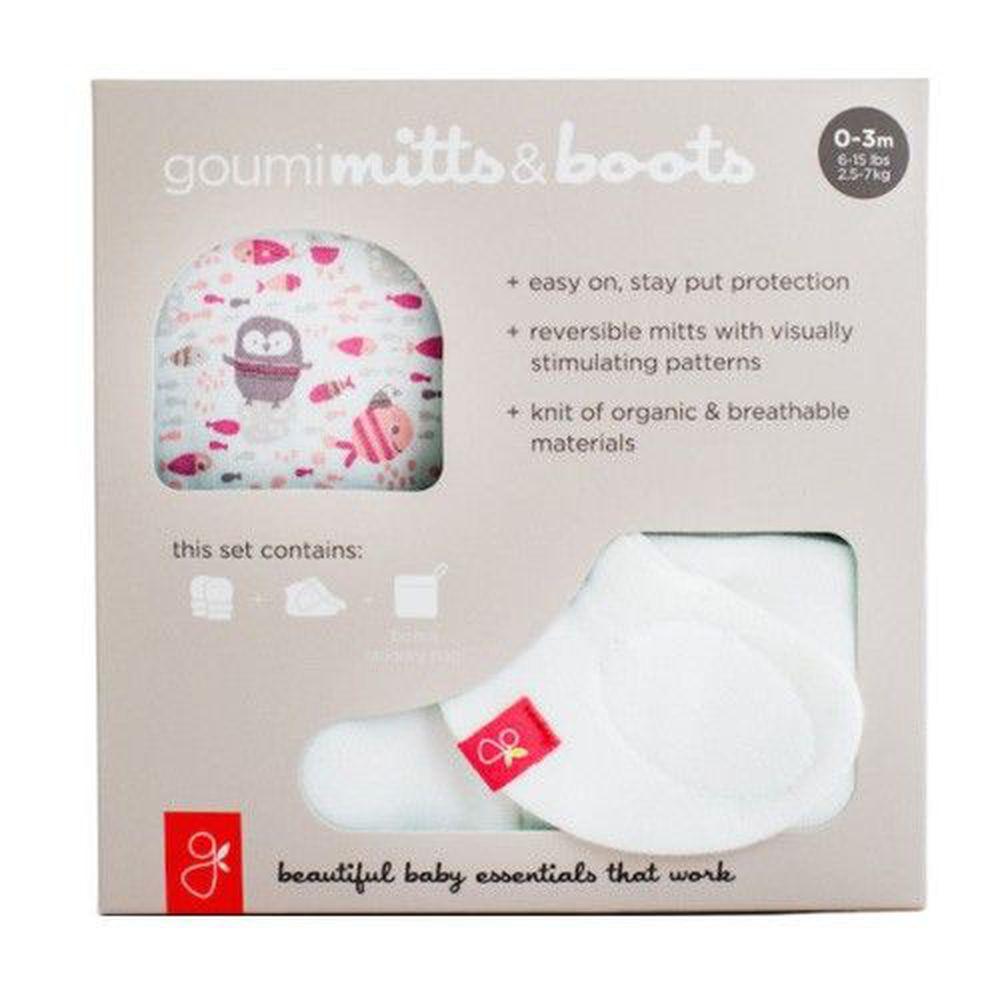 美國 GOUMIKIDS - 有機棉手腳套組合禮盒-企鵝-粉色