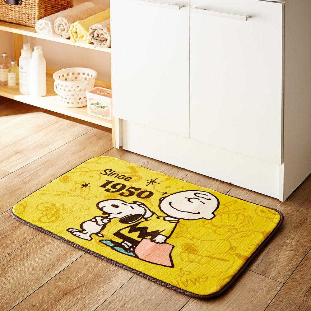 日本千趣會 - 史努比 長條型腳踏墊(廚房/臥室/玄關)-黃