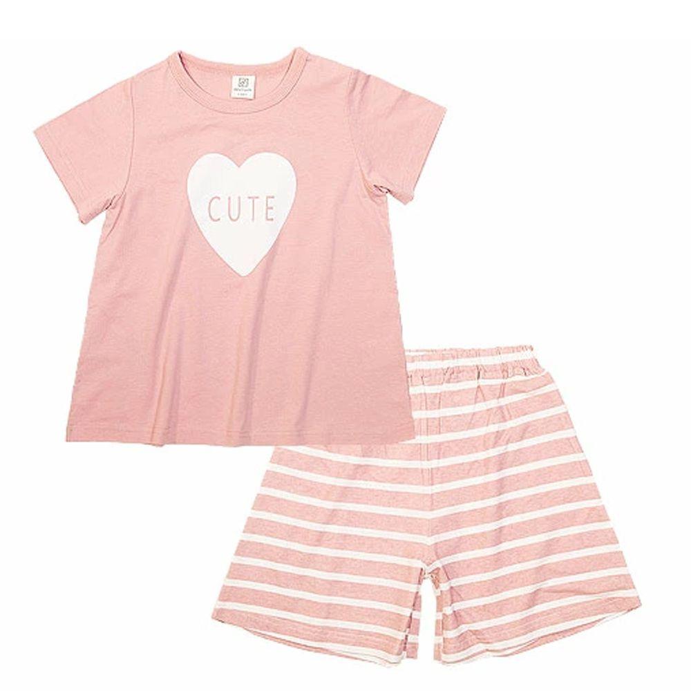 日本 devirock - 純棉短袖家居服-大愛心-粉紅