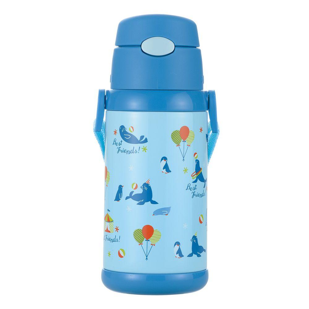 日本 Richell 利其爾 - 不鏽鋼兩用保溫水壺-極地樂園-藍 (495ml~530ml)