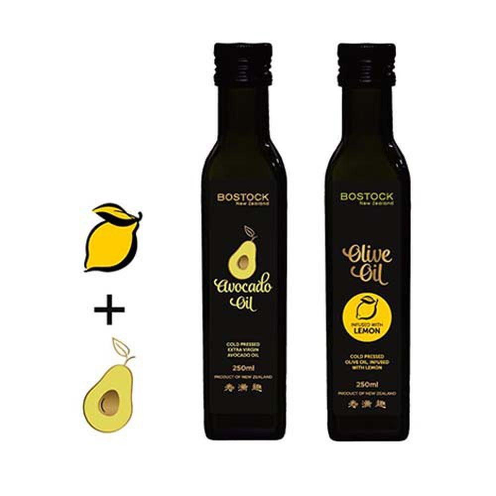 壽滿趣-紐西蘭BOSTOCK - 頂級優惠兩件組-頂級冷壓初榨酪梨油+檸檬風味橄欖油-250ml*2