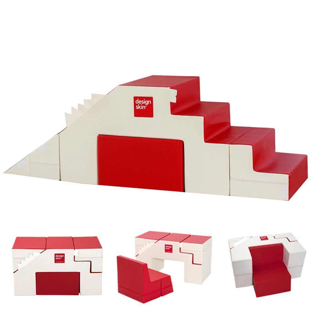 Design Skin - 溜滑梯變形沙發桌椅/兒童沙發-紅色