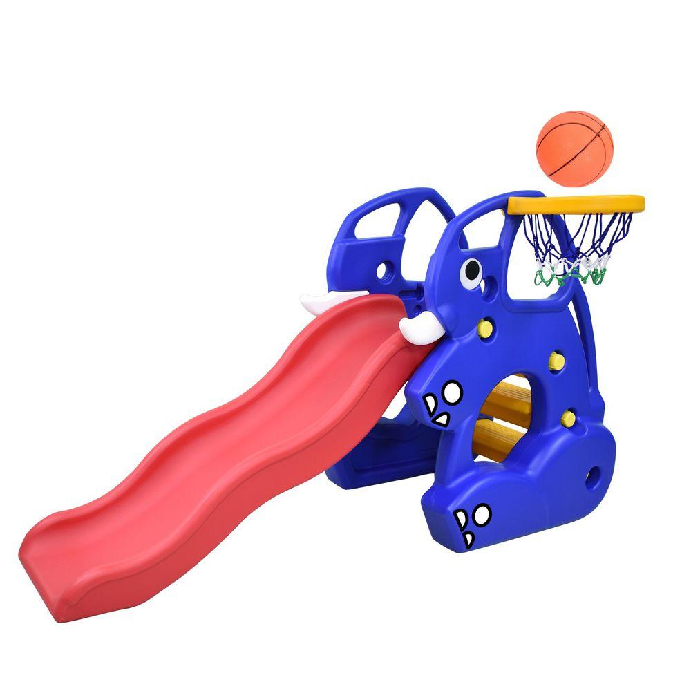 Ching Ching - 100%台灣製造 大象溜滑梯組(附籃球框+籃球)-藍色