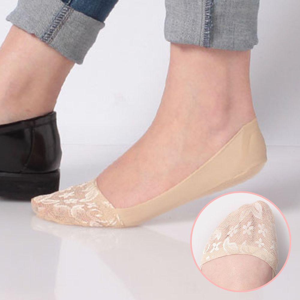 日本 okamoto - 超強專利防滑ㄈ型隱形襪-深履款-米蕾絲 (23-25cm)-足底棉混