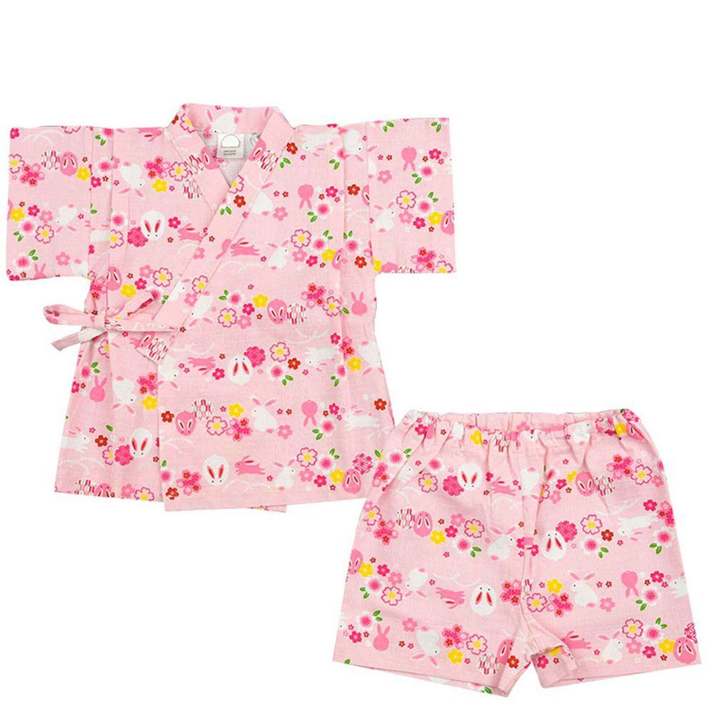 akachan honpo - 兩件式甚平-兔子-粉紅色