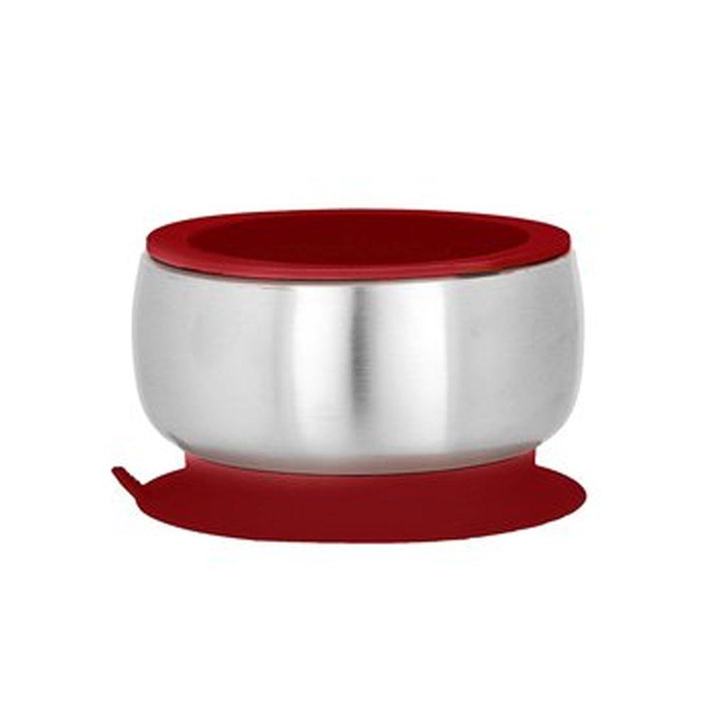 Avanchy - 雙層不鏽鋼-吸盤式餐碗-深紅