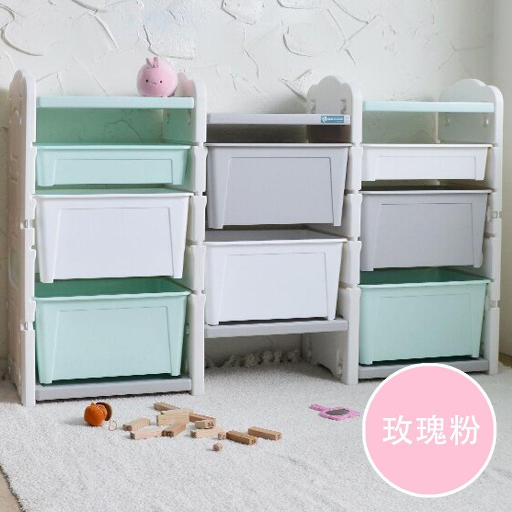 家窩 - 伊格玩具直取收納三櫃組(6大2小收納箱)-DIY-玫瑰粉