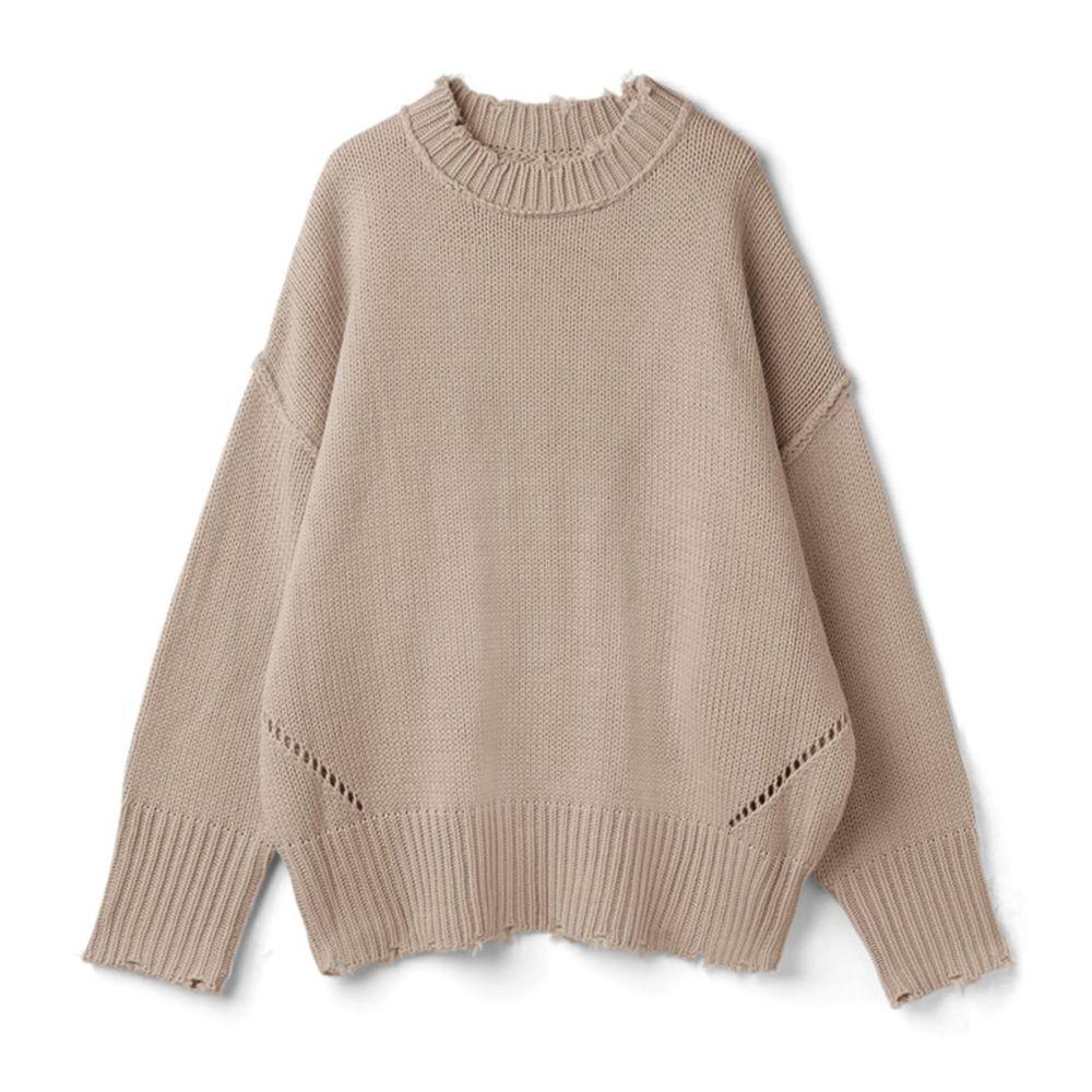 日本 GRL - 寬鬆修身線條微抓破邊衣領針織毛衣-氣質杏