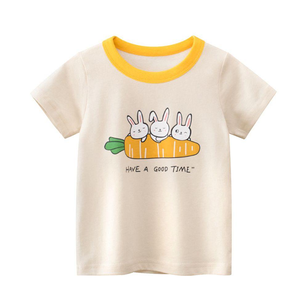 純棉短袖上衣-三隻兔子-米杏色