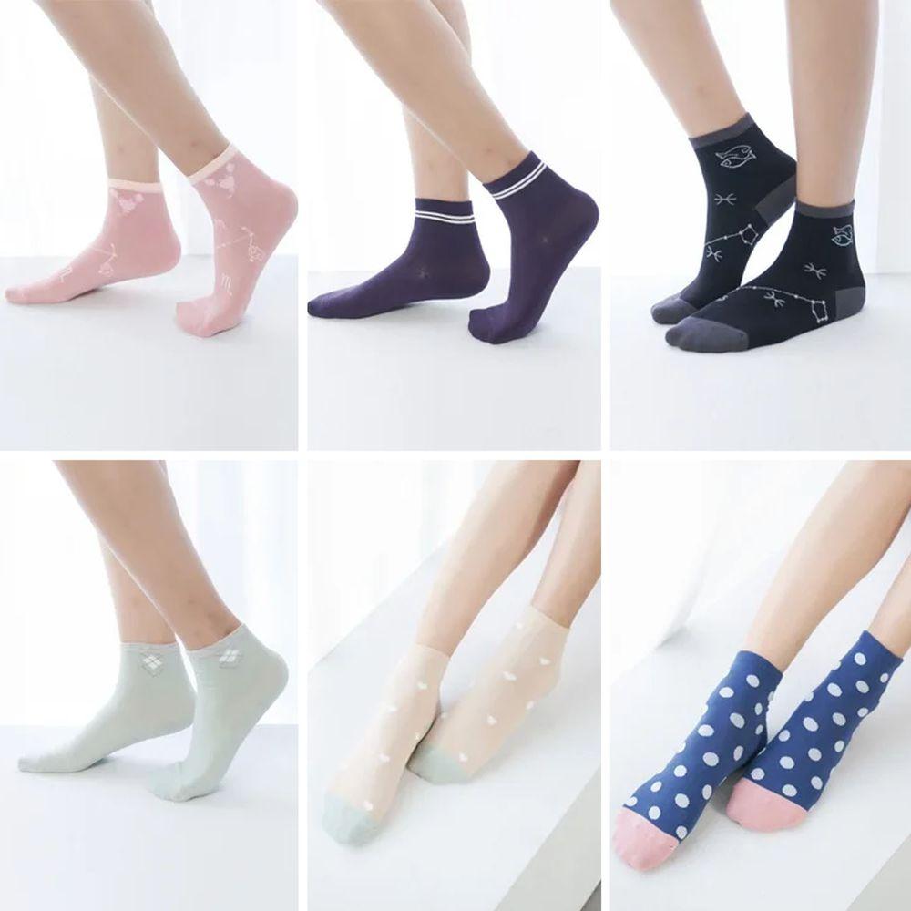 貝柔 Peilou - 貝柔消臭精梳棉-短襪(6雙組)-6款各一雙-隨機色 (22-26cm)