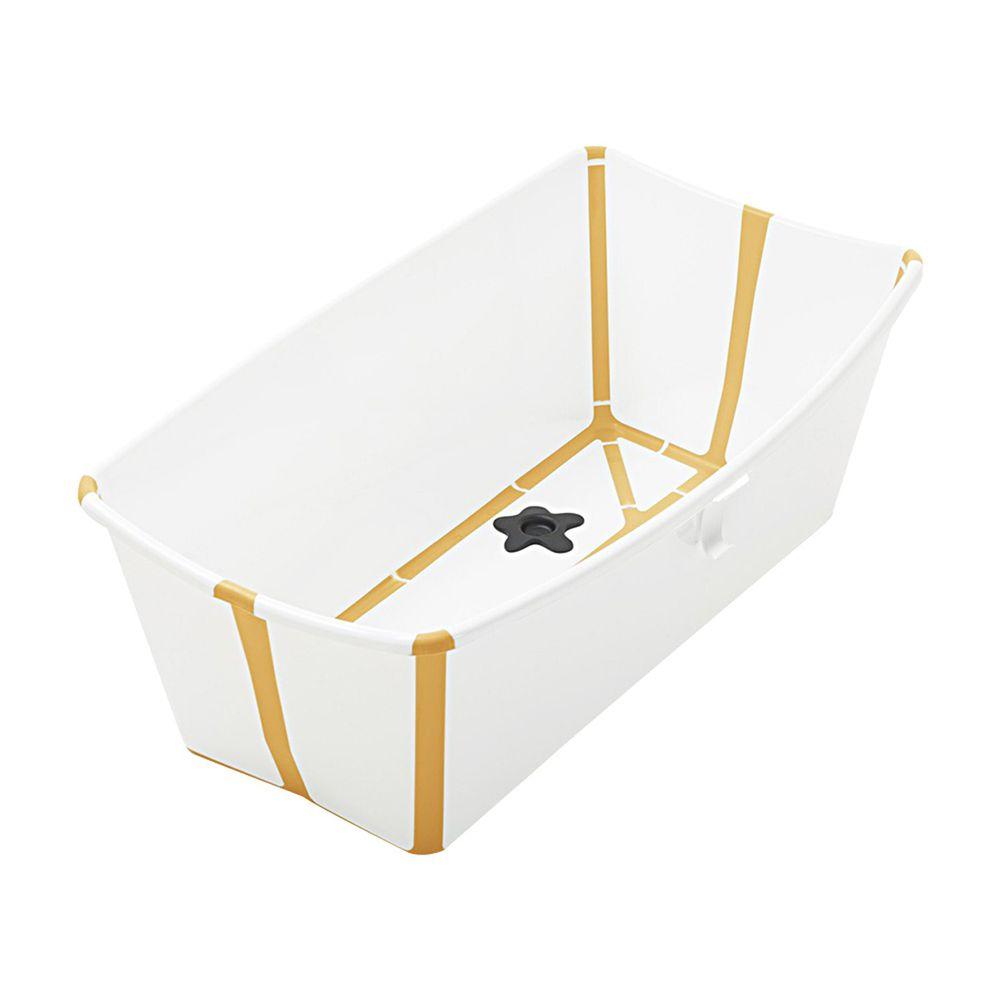 Stokke - Flexi Bath折疊式浴盆(感溫水塞)-白色(黃色包邊)