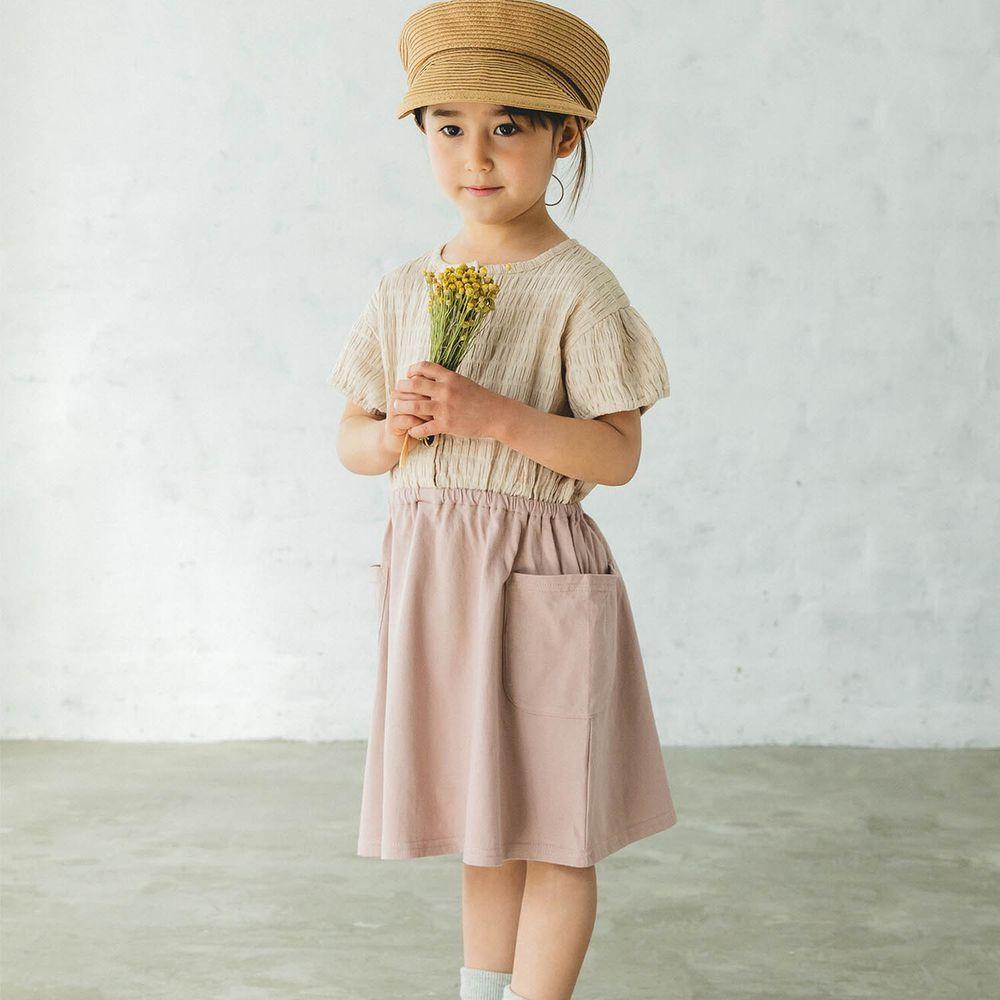 日本 PAIRMANON - 純棉楊柳皺摺拼接短袖洋裝-杏X粉