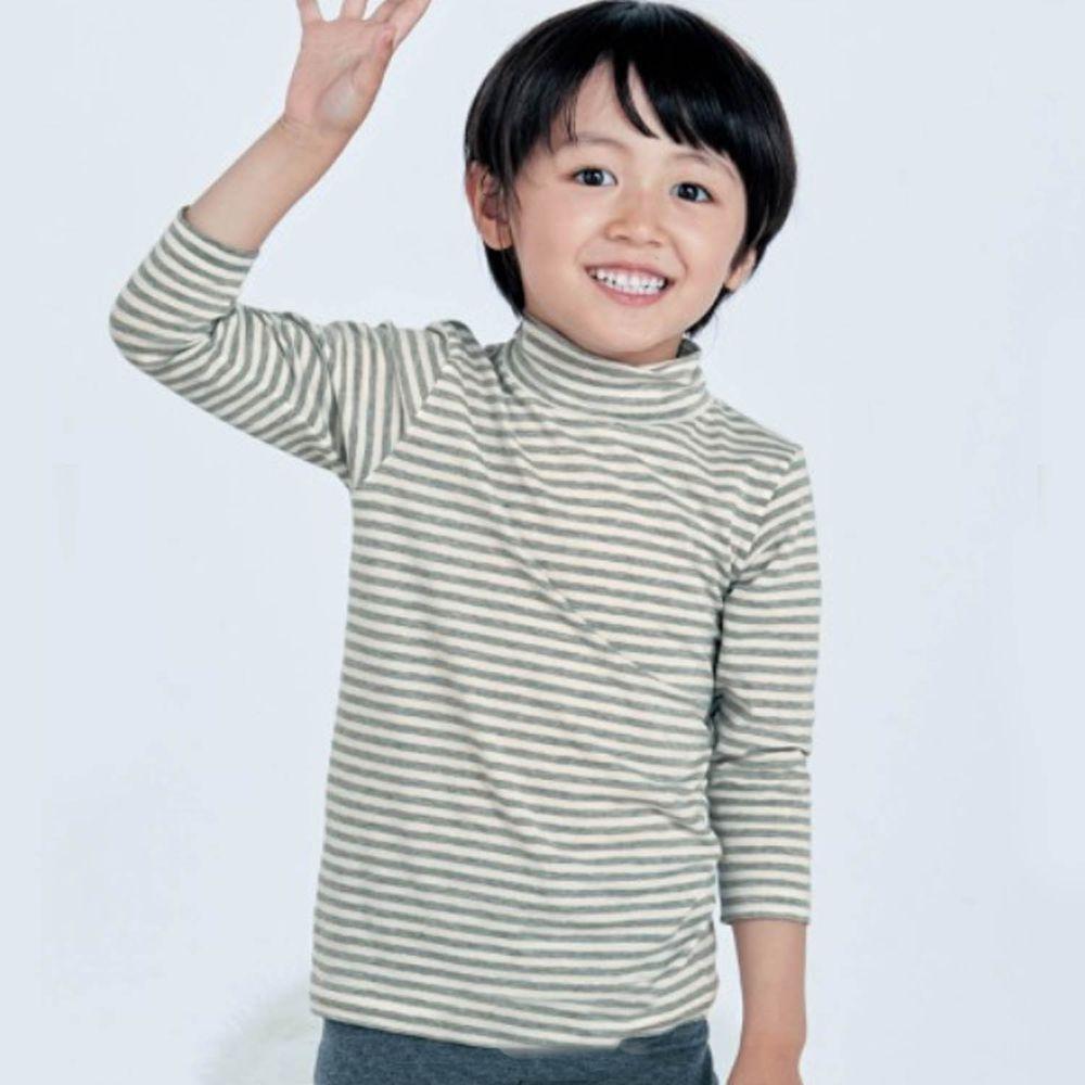 日本千趣會 - 95%棉 (兒童)九分袖高領發熱衣-灰條紋