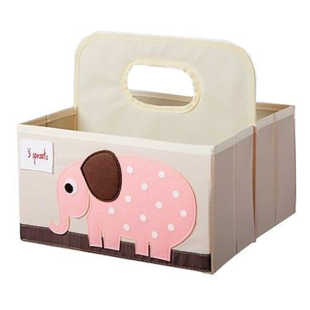 加拿大 3 Sprouts - 雙面手提籃-粉色大象