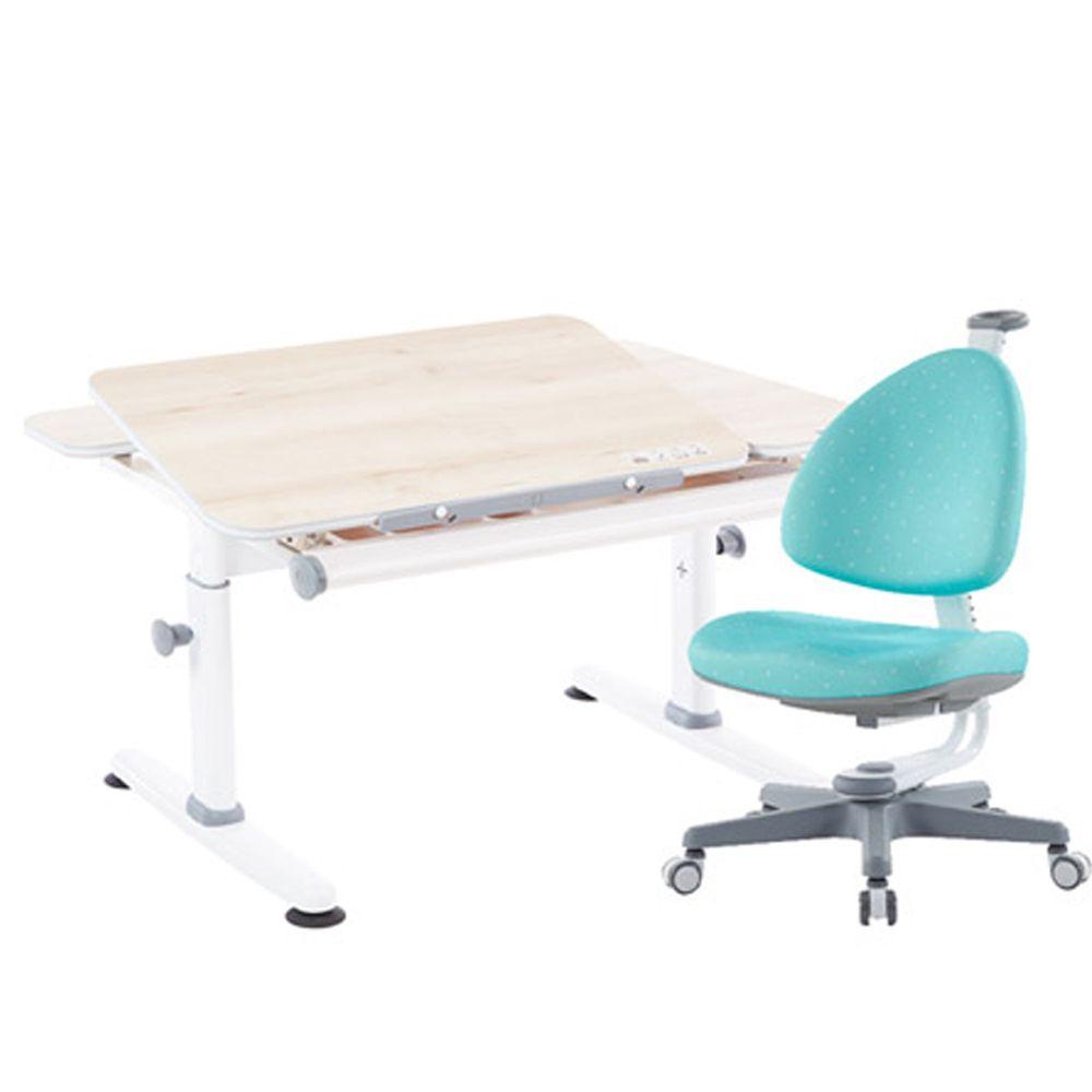 大將作 kid2youth - M6 Plus-XS 成長桌椅組(含BABO椅)/兒童書桌椅-贈: 桌墊、收納盒 (隨機)-湖水綠 (桌面尺寸寬100x長75cm)