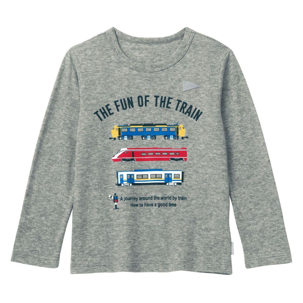 日本千趣會 - GITA 純棉輕薄舒適長T-鐵路迷-雜灰