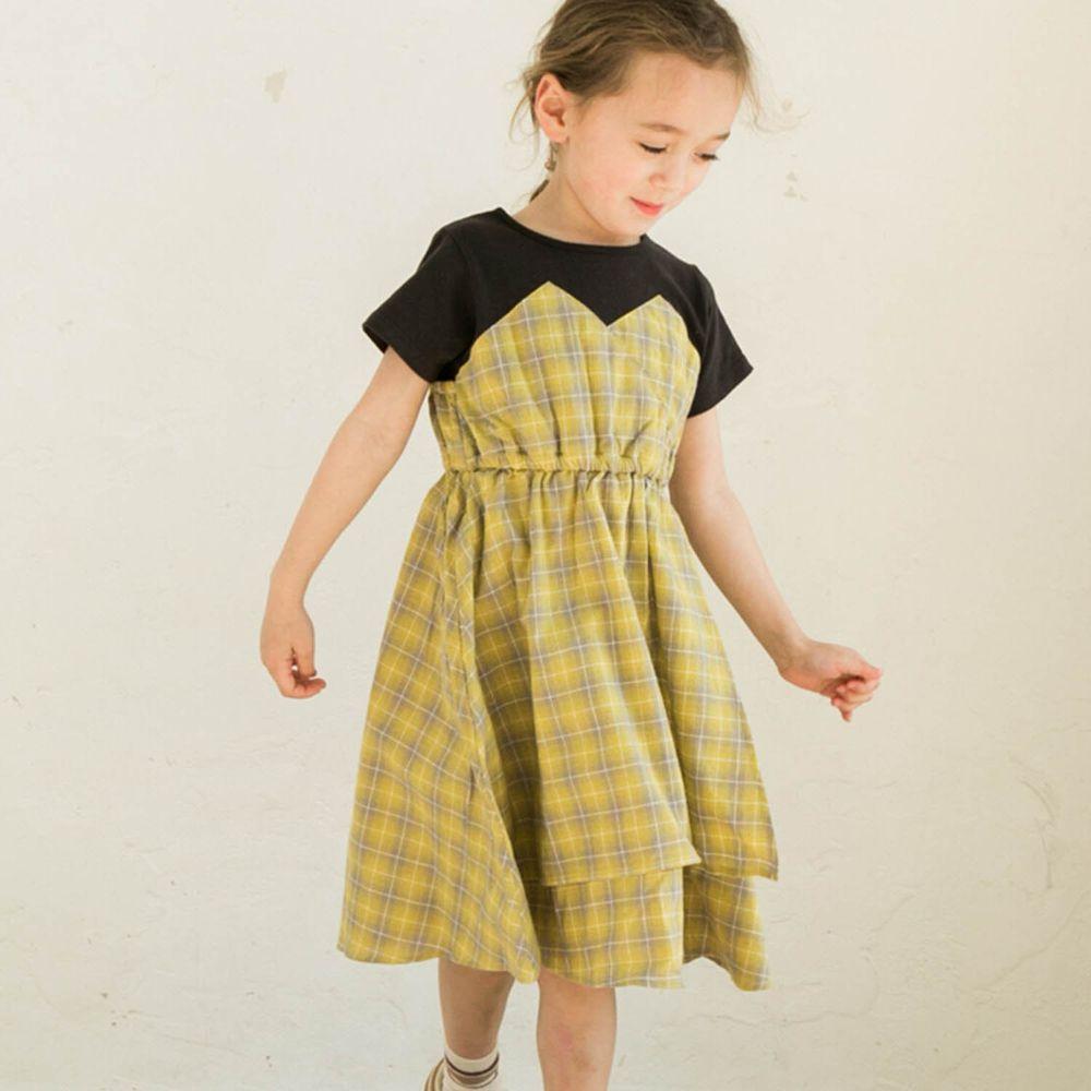 日本 PAIRMANON - 純棉假兩件拼接短袖洋裝-格紋-黑X黃