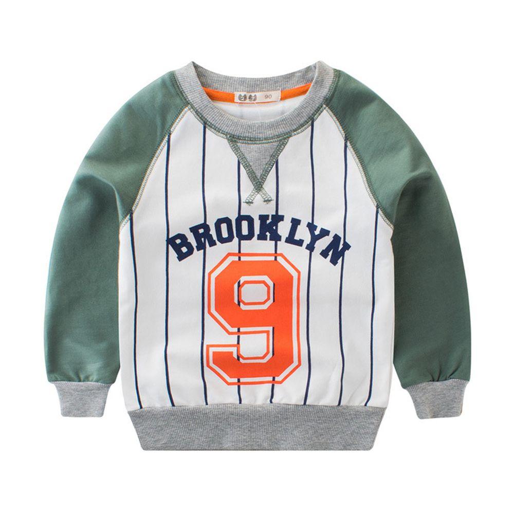 棉質長袖大學T-棒球9號-綠色
