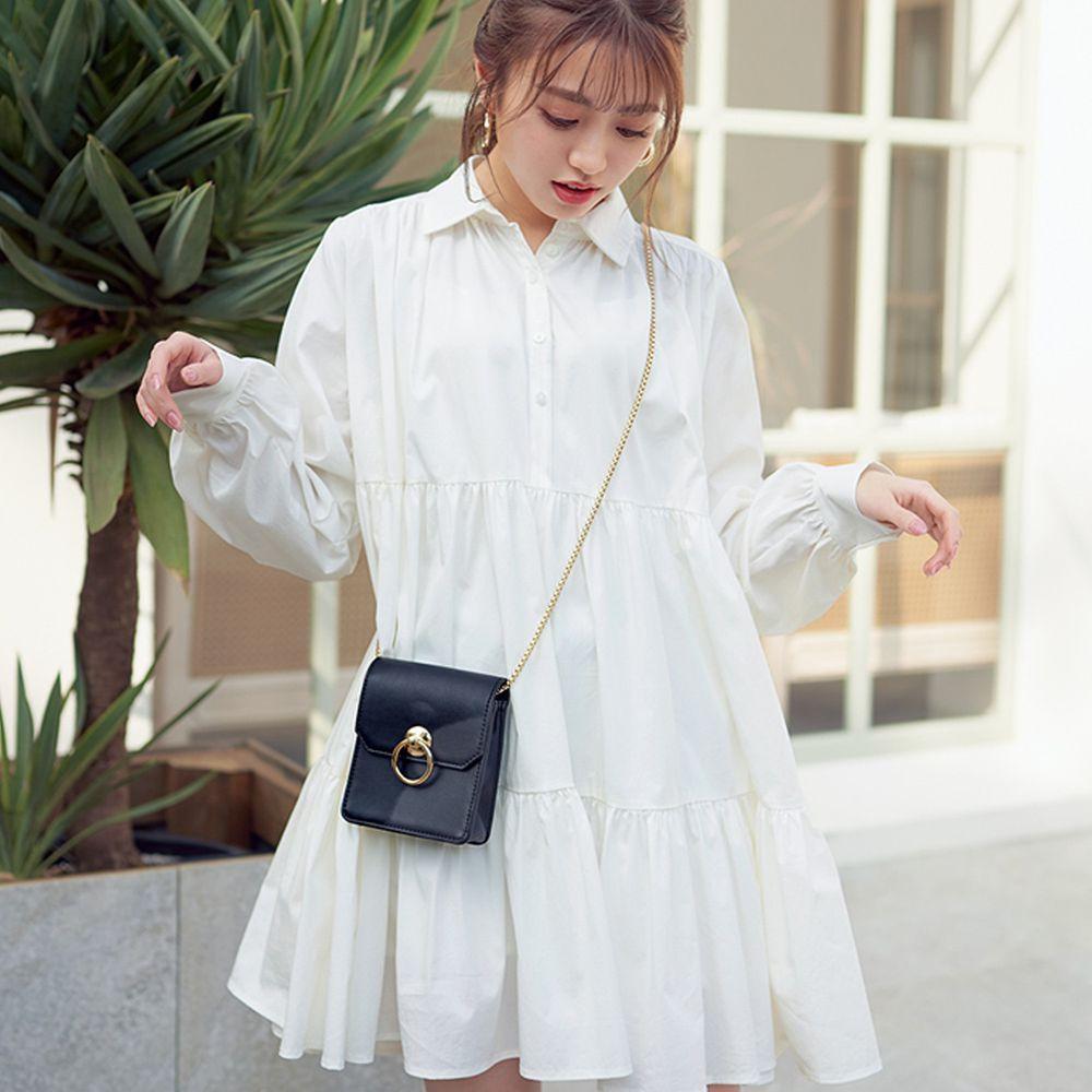 日本 GRL - 甜美慵懶傘狀襯衫洋裝-白